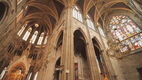Votive Church, neo-gothic church, the second-tallest church in Vienna. The interior of the church inside. Votive Church, neo-gothic church, the second-tallest stock video