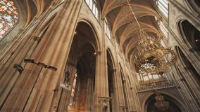 Votive Church, neo-gothic church, the second-tallest church in Vienna. The interior of the church inside. Votive Church, neo-gothic church, the second-tallest stock footage