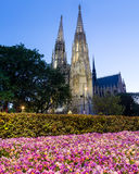 Votive Church and Spring Flowers in Vienna Stock Photos