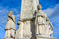 Votive column. Detail from baroque perion in Pozega main square, Croatia royalty free stock photo