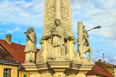 Votive column detail. From baroque period in Pozega main square, Croatia stock image