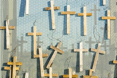 Votive crosses the symbol of christianity Easter. Stock Photo