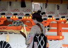Votive dance by Geisha girl, at Gion Matsuri festival Stock Photography