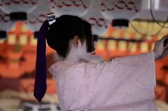 Dancing little Maiko at Japanese Shrine, Kyoto Stock Photos