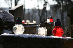 Votive lantern on the tomb Royalty Free Stock Images