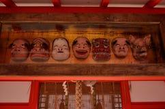 Votive maskeringar på den japanska relikskrin, Kyoto Japan Fotografering för Bildbyråer