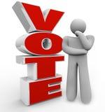 Voto che pensa le opzioni di Person Stands Beside Word Considering Fotografie Stock Libere da Diritti