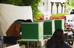 Voto costituente di uso della gente tailandese per il calo di elezione di voto nel bal Fotografie Stock