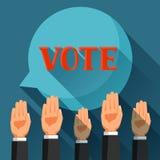 Voto de la gente con sus manos aumentadas Ejemplo político de las elecciones para las banderas, los sitios web, las banderas y lo Imagenes de archivo
