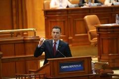 Voto de no confianza del P.M. Sorin Grindeanu Foto de archivo libre de regalías