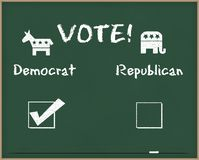 Voto Democrat com símbolos da eleição imagens de stock royalty free