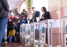 Voto di Vitali Klitschko a Kiev, Uktraine fotografia stock libera da diritti