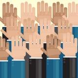 voto Mãos levantadas acima Eleições ou cumprimentos Imagens de Stock Royalty Free