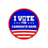 Voto por el nombre Pin Graphic Design Template del candidato Imagen de archivo libre de regalías