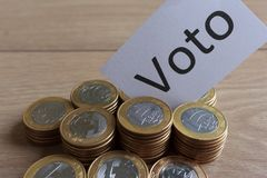 `Voto` in portuguese: Vote, political corruption in Brazil and the purchase of votes in elections. royalty free stock photography