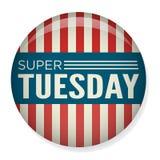 Voto retro ou eleição Pin Button - terça-feira super ilustração do vetor