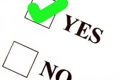 Voto sì Immagine Stock