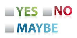 Voto sì, no o forse illustrazione Immagini Stock Libere da Diritti