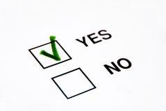 Voto sí Imágenes de archivo libres de regalías