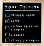 Votre enquête d'opinion sur le tableau Images stock
