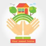 Votre maison douce - illustration moderne au sujet des rêves qui vient vrai Photo libre de droits