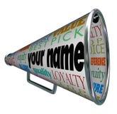Votre marque de la publicité de mégaphone de corne de brume de nom illustration libre de droits