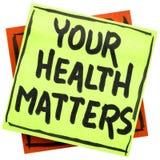 Votre santé importe note de rappel Images libres de droits