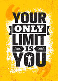 Votre seulement limite est vous Calibre créatif de inspiration d'affiche de citation de motivation Concept de construction de ban Image stock