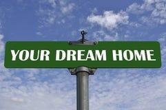 Votre signe de route à la maison rêveur Images stock