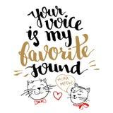 Votre voix est ma carte saine préférée de calligraphie Photographie stock