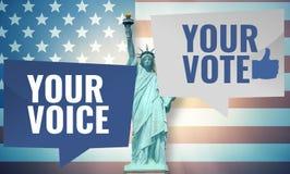 Votre voix votre vote 3D rendent la conception des Etats-Unis Photos libres de droits