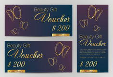 Voucher-background. Gift voucher template with gold butterfly and letters Stock Photo