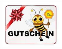 Bee with voucher over 15, - value,. Voucher for beekeeping, Vector illustration isolated on white background Stock Illustration