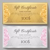 Gift certificate, Voucher, Coupon template with flowers Roses and gold, silver pattern background vector illustration