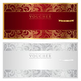 Voucher / coupon / gift. Floral pattern. This design can be usable for voucher/ coupon / gift or different awards. voucher in golden and silver colors. Vector Royalty Free Stock Images