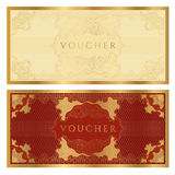 Voucher / coupon. Guilloche pattern Stock Photos