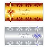 Voucher, Coupon template with border. Voucher, Gift certificate, Coupon template with floral border Stock Photos