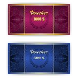 Voucher, Coupon template with border. Voucher, Gift certificate, Coupon template with lace floral border Royalty Free Stock Photos