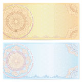 Voucher (coupon) Template With Guilloche Pattern Royalty Free Stock Photography