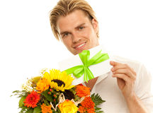 Voucher and flowers Royalty Free Stock Photography