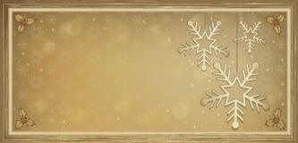 Voucher gift card flake gold Merry Christmas Stock Photos