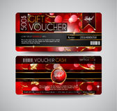 Voucher Gift Card layout template for your promotional design Royalty Free Stock Images