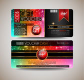 Voucher Gift Card layout template for your promotional design, Stock Images