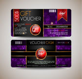 Voucher Gift Card layout template for your promotional design, Stock Image