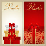 Voucher, Gift certificate, Coupon. Boxes, bow. Voucher, Gift certificate, Coupon template with border, bow (ribbons, present). Holiday (celebration) background Stock Photos