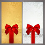 Voucher, Gift certificate, Coupon. Boxes, bow Royalty Free Stock Photography