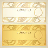 Voucher, Gift certificate, Coupon template. Voucher, Gift certificate, Coupon template with floral (scroll, swirl) pattern (border, frame). Background design