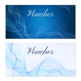 Voucher, Gift certificate, Coupon template. Guilloche pattern watermark, blue lines. Background for banknote, money design, currency, bank note, check cheque Stock Photography
