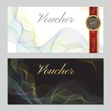 Voucher, Gift certificate, Coupon template. Guilloche pattern watermark, colorful lines Royalty Free Stock Photos