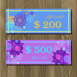 Voucher, Gift certificate, Coupon template for invitation, banner, ticket. Royalty Free Stock Images